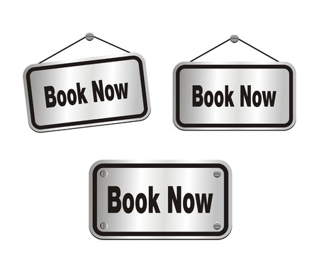 book now - silver signs Vector