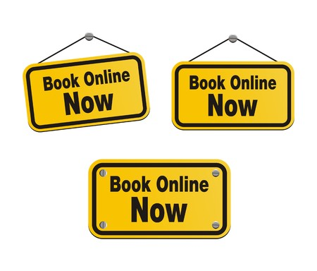 reserves: book online now - yellow signs Illustration