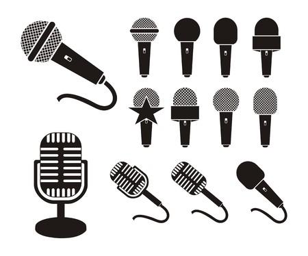 microphone silhouette  イラスト・ベクター素材