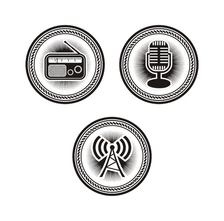 newscast: radio badges Illustration