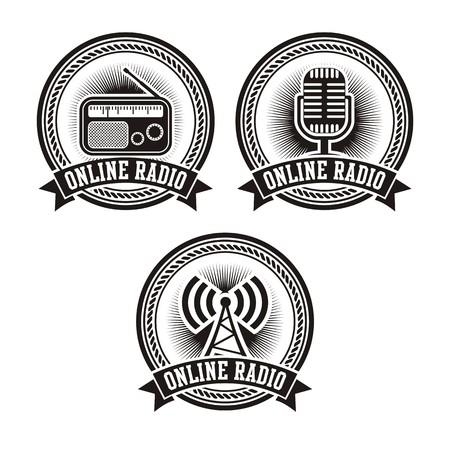 online radio badges Vector