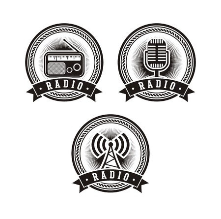 newscast: set of radio badges