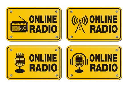 newscast: online radio - rectangle yellow signs
