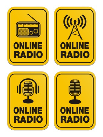 newscast: online radio yellow signs