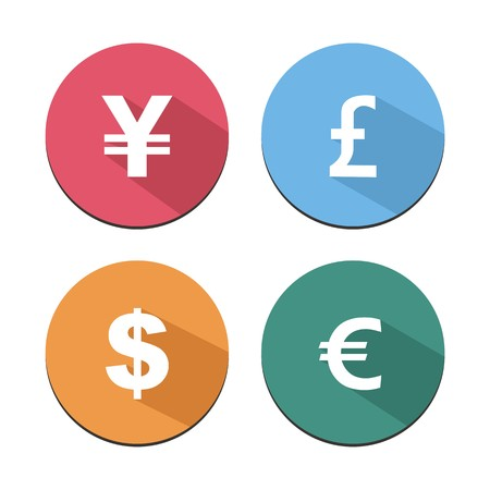 cyrcle: flat icon with shadow - currency ball icons Illustration