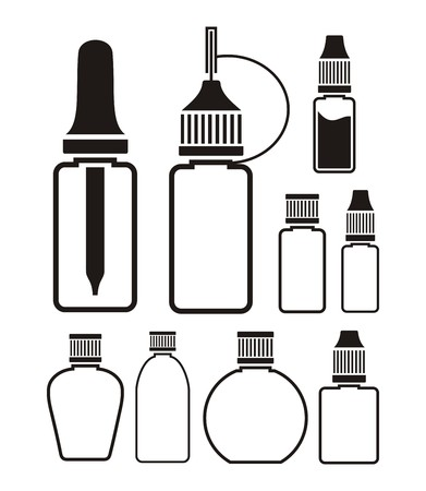 e cigarette: liquid bottle - icon sets Illustration