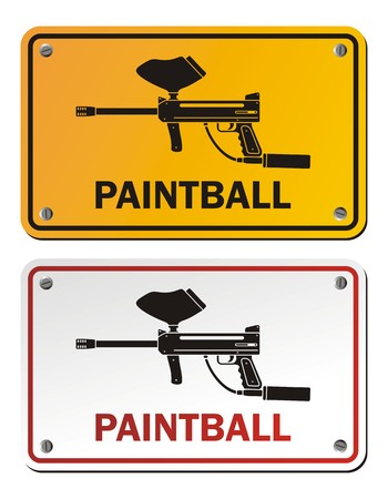 compressed air: paintball - rectangle signs Illustration