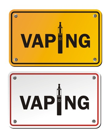 e cigarette: vaping rectangle signs Illustration