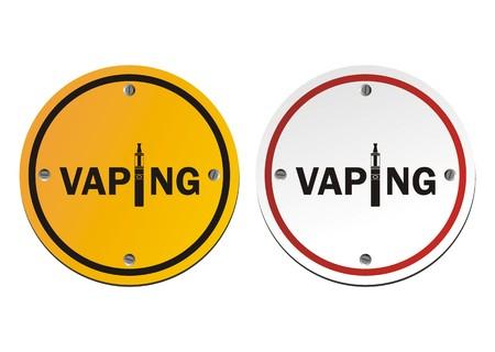 inhaling: vaping - round signs