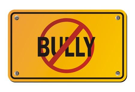 intimidating: stop bully - yellow signs