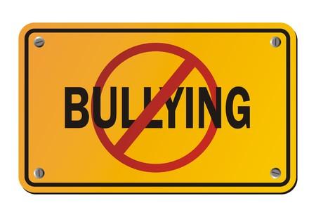 intimidating: stop bullying - yellow signs