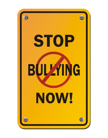 intimidating: stop bullying now - yellow signs Illustration