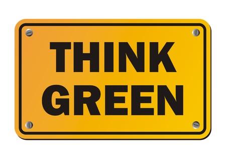 hintergrund gr�n gelb: Denken Sie Gr�n - gelbes Schild Illustration