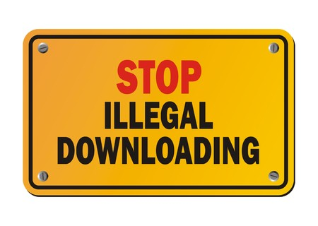 downloading: stop illegal downloading - warning sign