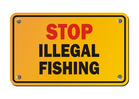 protest sign: stop illegal fishing - protest sign Illustration