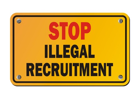 trafficking: stop illegal recruitment - yellow signs