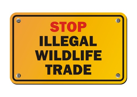wildlife: stop illegal wildlife trade - warning sign Illustration