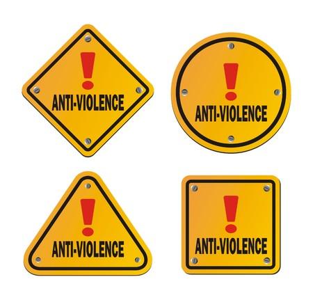 anti: anti-violence signs Illustration