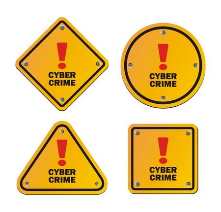 warning signs: cyber crime - warning signs Illustration