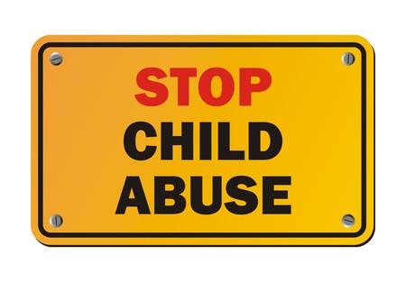 Stopper les abus d'enfant - signe de protestation Banque d'images - 36424188