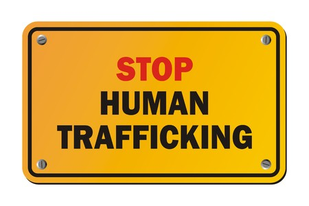 Stoppen Menschenhandel - Warnzeichen Standard-Bild - 36424203