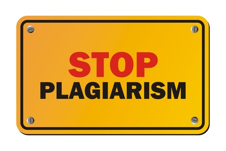 plagiarism: stop plagiarism - warning sign