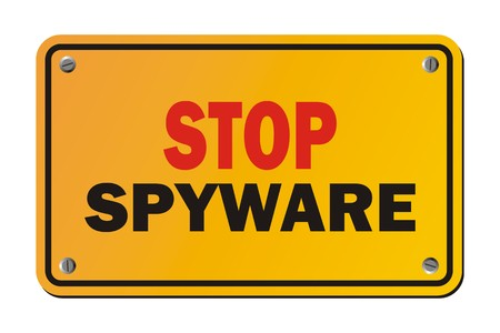 spyware: stop spyware - warning sign