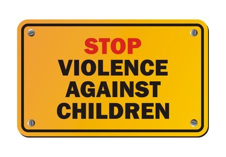 stop geweld tegen kinderen - protestbord Stock Illustratie
