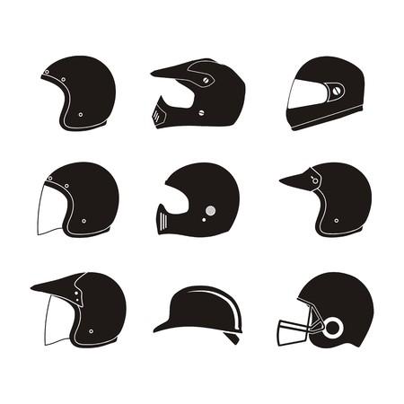 helmet silhouette - helmet icon sets Vectores