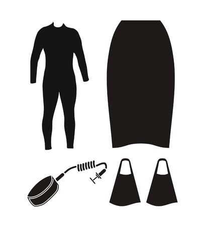 wetsuit: bodyboard equipment - silhouette
