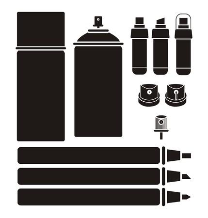 aerosol can: graffiti tools - silhouettes