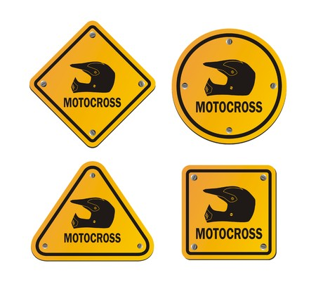 motocross riders: motocross - yellow signs Illustration