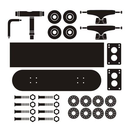 skate board: skateboard kits - silhouette Illustration