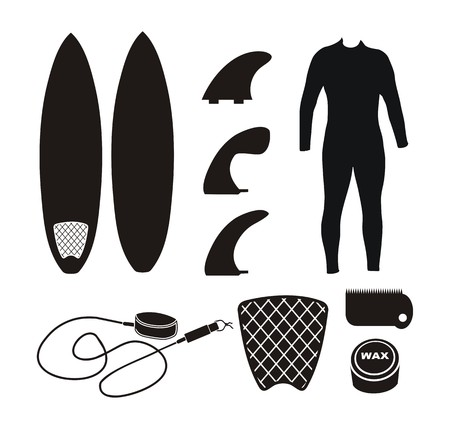 surfboard equipment - silhouette 向量圖像