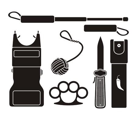 self defense: self defense equipment - pictogram Illustration