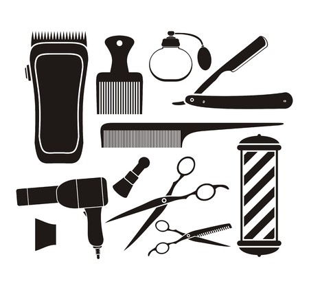 set of men hair styling: barber shop equipment - pictogram Illustration