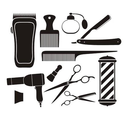 barber shop equipment - pictogram 向量圖像