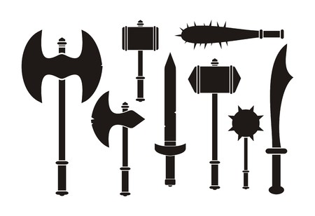 barbarian: barbarian weapon - silhouette Illustration