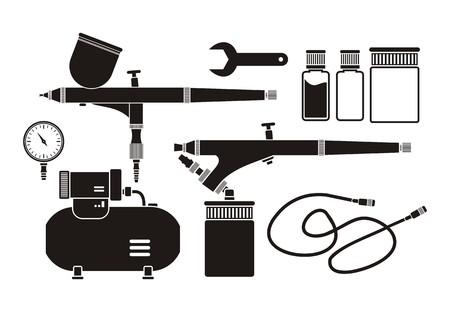paint spray gun: airbrush equipment - pictogram