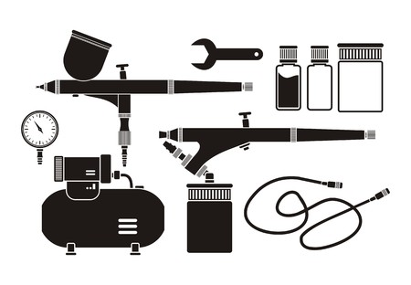 air compressor: airbrush equipment - pictogram