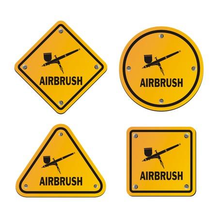 aerografo: signos aer�grafo - se�ales de tr�fico Vectores