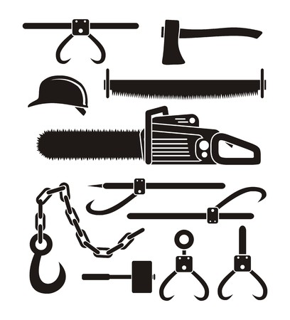 crosscut: lumberjack tools - pictogram