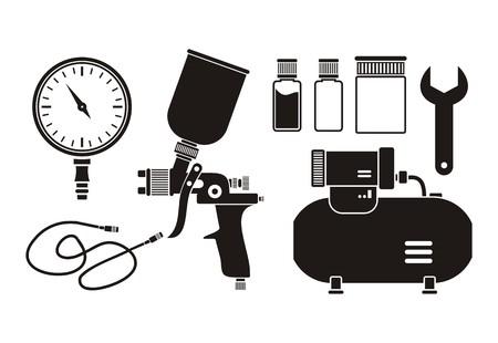 paint gun: spray painting equipment - pictogram
