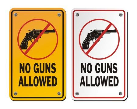 no gun signs - revolver Vector