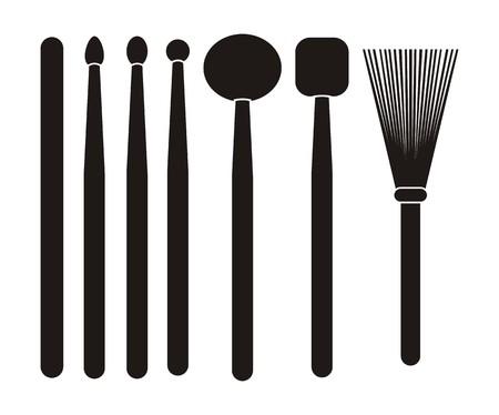 wooden stick: drum stick - silhouette Illustration