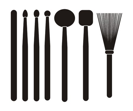 drum stick - silhouette Illustration