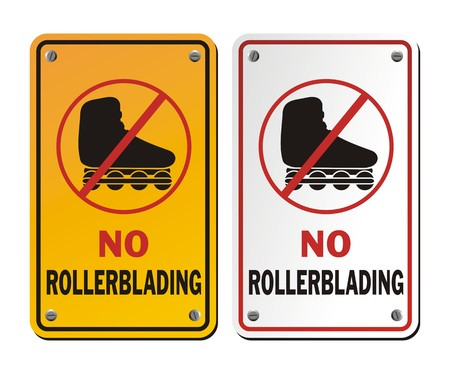 rollerblading: no rollerblading signs