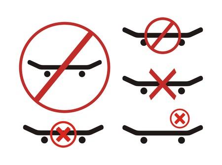 illegal zone: no skateboarding symbol