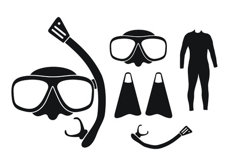 snorkeling equipment - silhouette