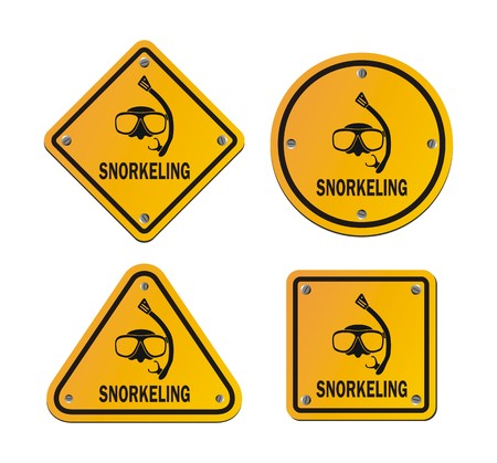 snorkeling roadsigns Illustration